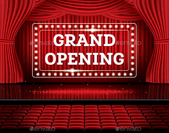 Grand Opening Open Red Curtains with Neon Lights - Backgrounds Business