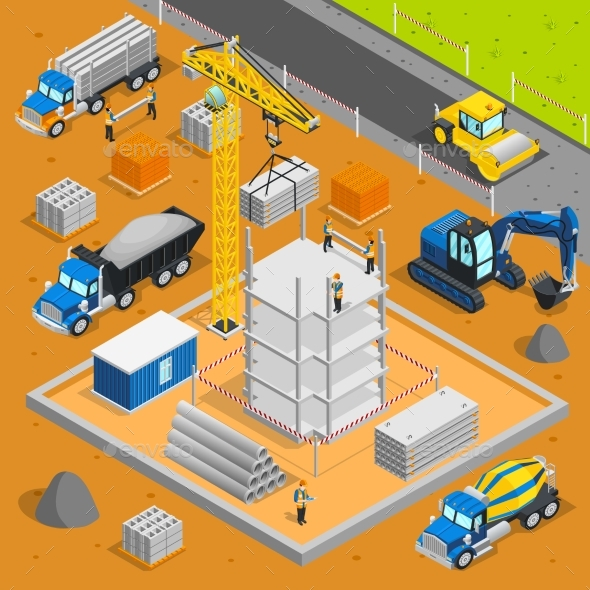 Building Area Isometric Composition - Industries Business