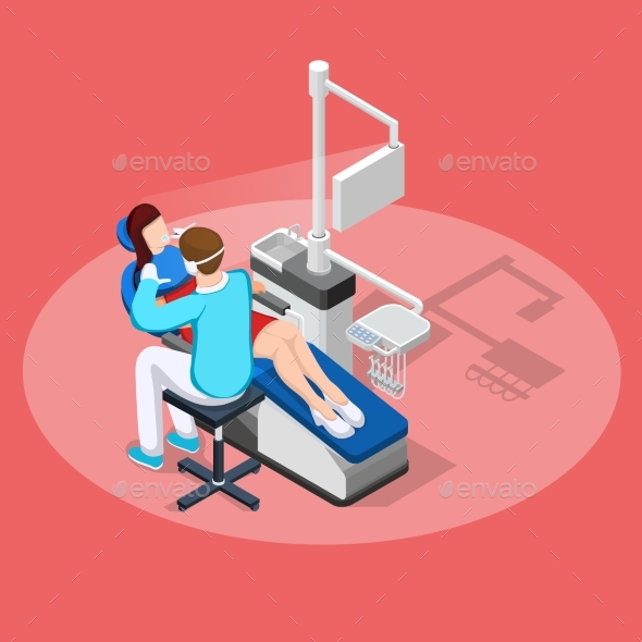 Dental Stopping Isometric Composition - Health/Medicine Conceptual