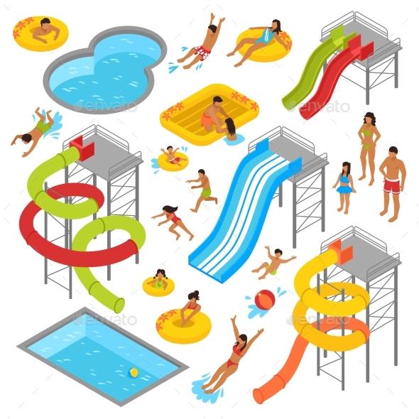 Aqua Park Isometric Icons Set - Sports/Activity Conceptual