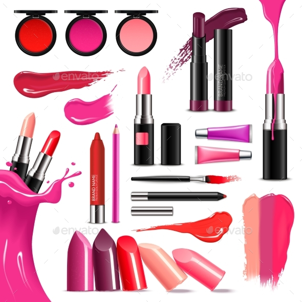 Lip Makeup Color Realistic  Collection - Man-made Objects Objects