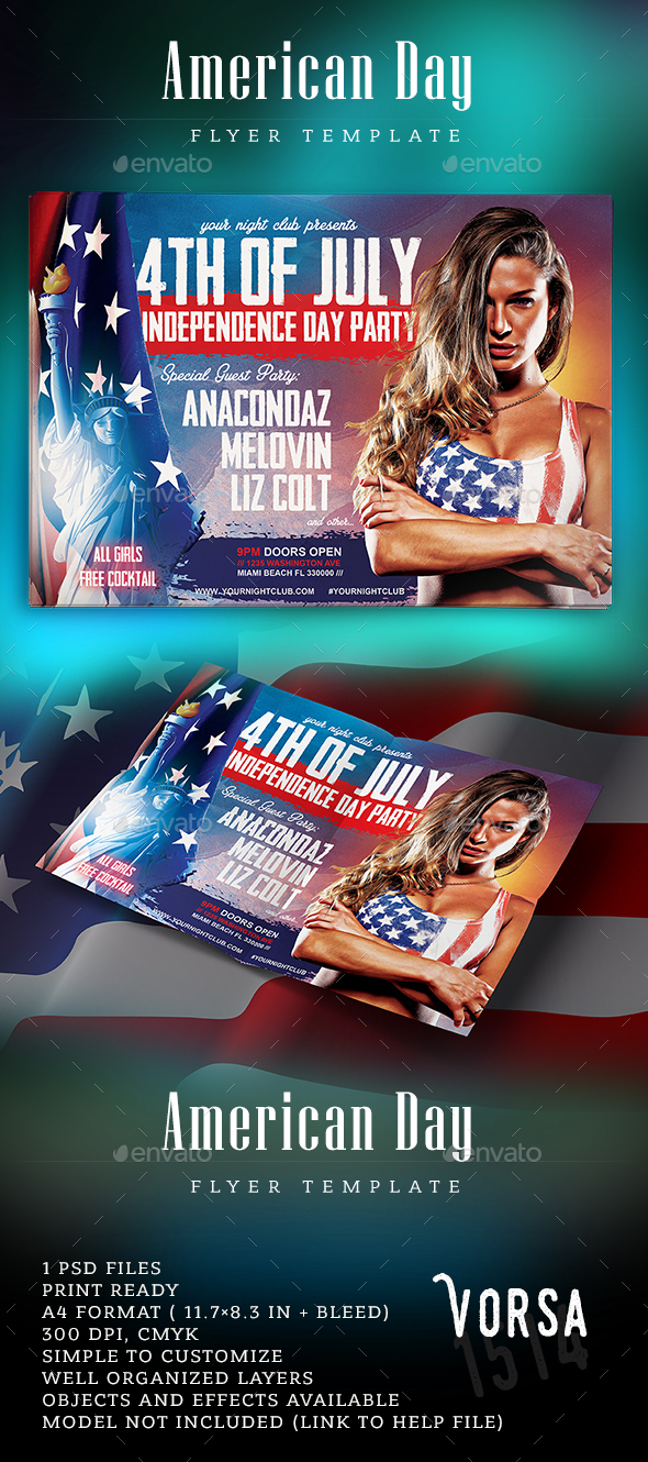American Day Party Flyer - Clubs & Parties Events