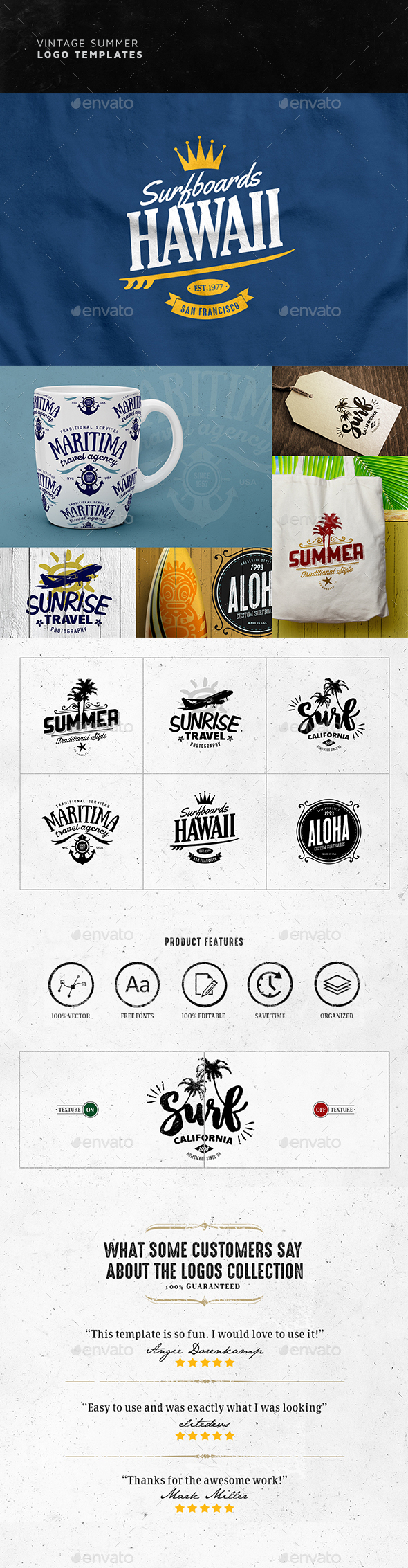 Vintage Summer Logos Design - Badges & Stickers Web Elements