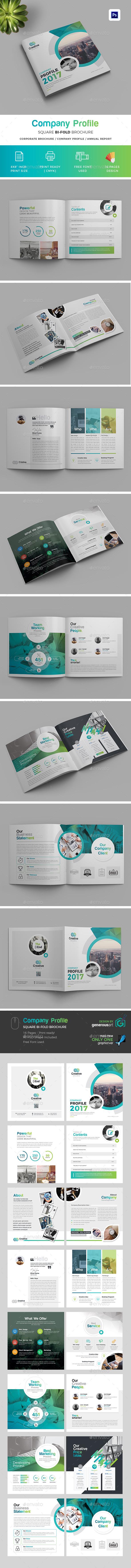 Company  Profile Square Bi-Fold Brochure - Brochures Print Templates