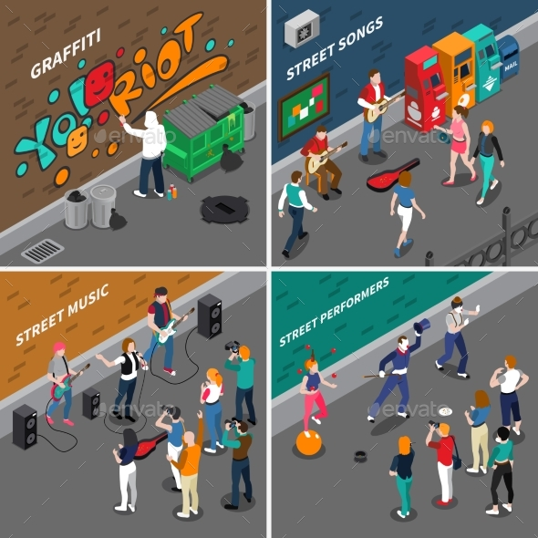 Street Artists Isometric Compositions - Industries Business