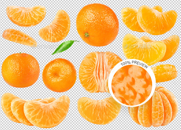 Collection of Isolated Tangerines - Food & Drink Isolated Objects