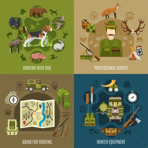 Hunting Concept Icons Set - Sports/Activity Conceptual
