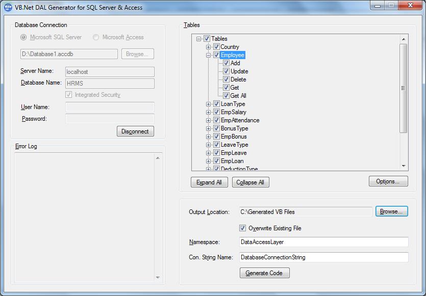 VB Net DAL Generator - Source Code