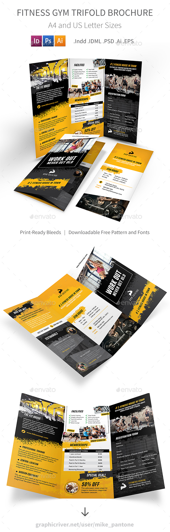 Fitness Gym Trifold Brochure 5 - Informational Brochures