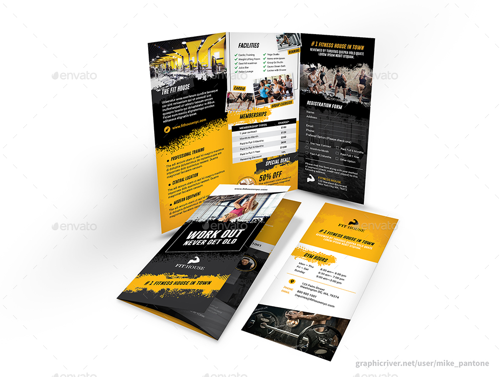 Fitness Gym Trifold Brochure 5 By Mike_Pantone | Graphicriver