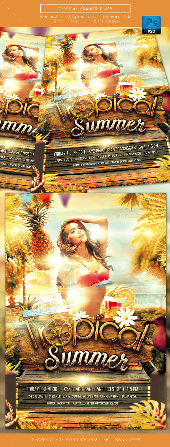 Tropical Summer Beach Party Flyer - Clubs & Parties Events