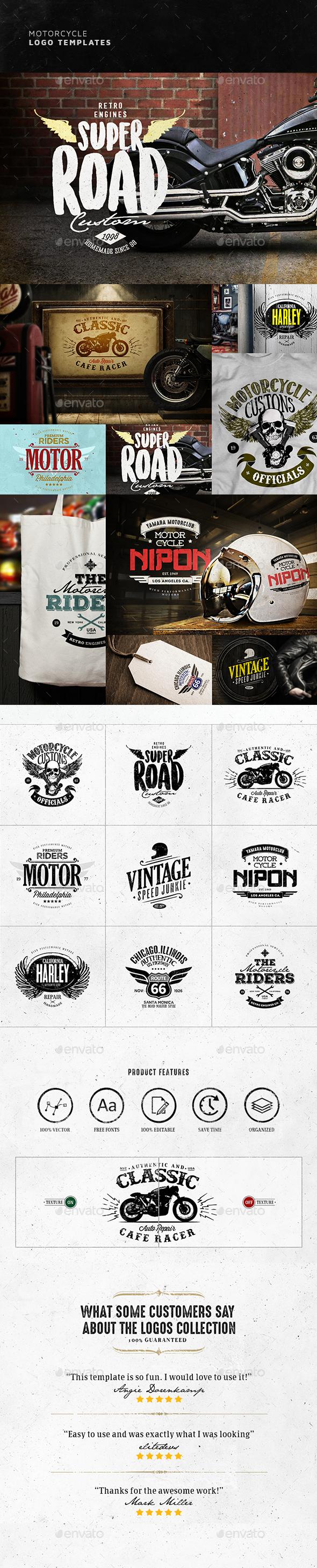 Vintage Motorcycle Logo Design - Badges & Stickers Web Elements