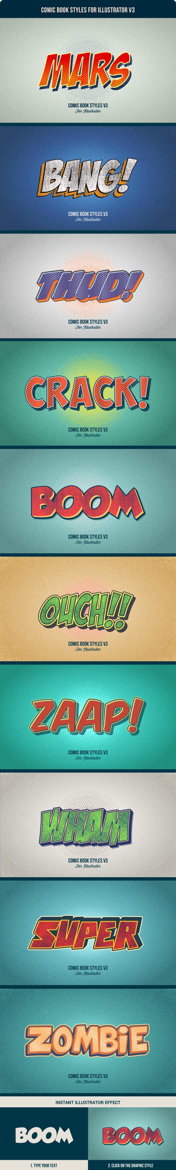 Comic Book Styles for Illustrator V3 - Styles Illustrator