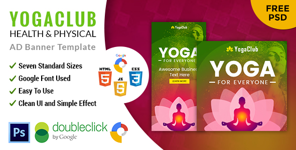 Yoga | Fitness Multipurpose HTML 5 Animated Google Banner