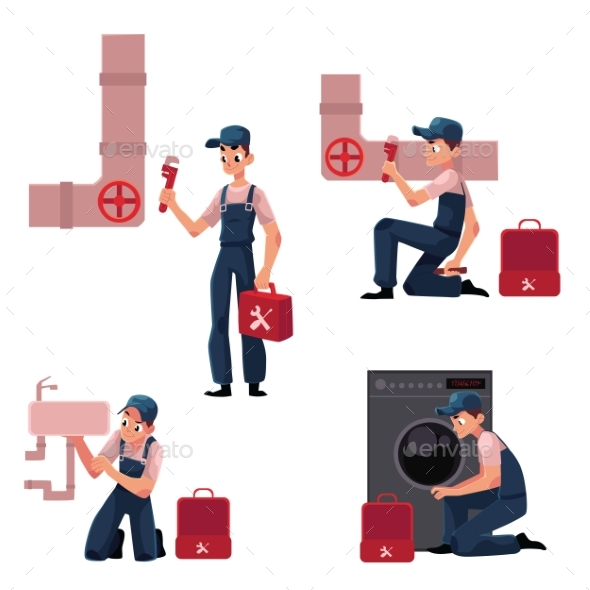 Plumbing Specialist at Work Repairing Sewage - Services Commercial / Shopping