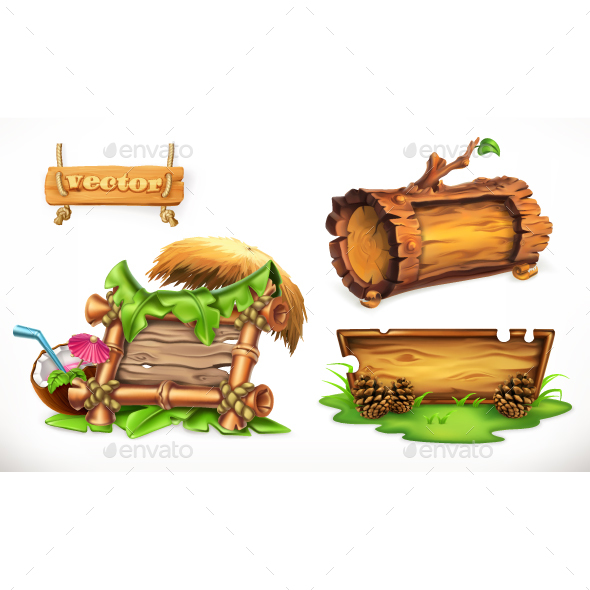 Vector Set With Wood Banners - Miscellaneous Vectors
