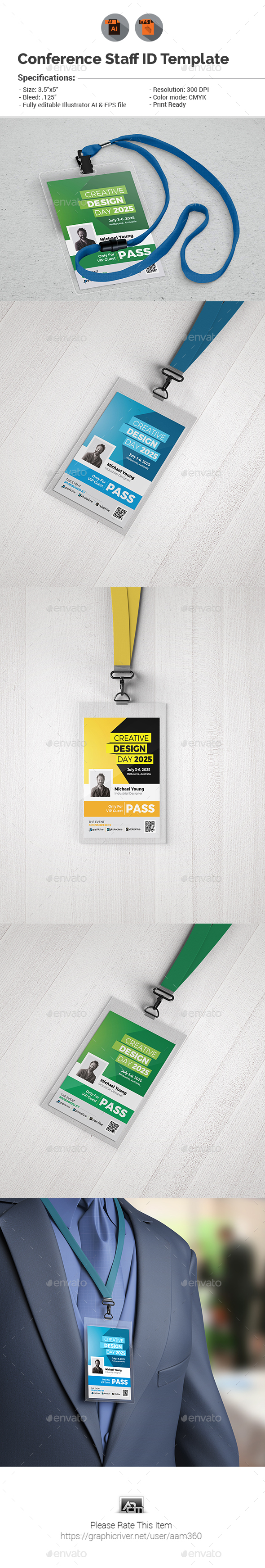 Event/Conference VIP Pass ID Template - Miscellaneous Events