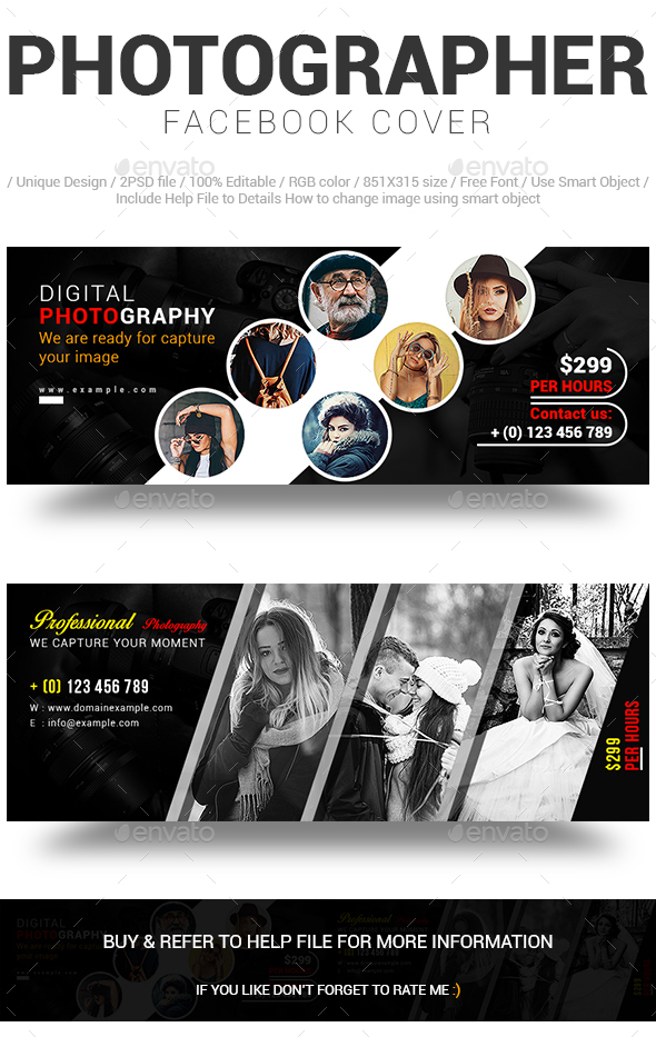 Photographer Facebook Cover - Social Media Web Elements