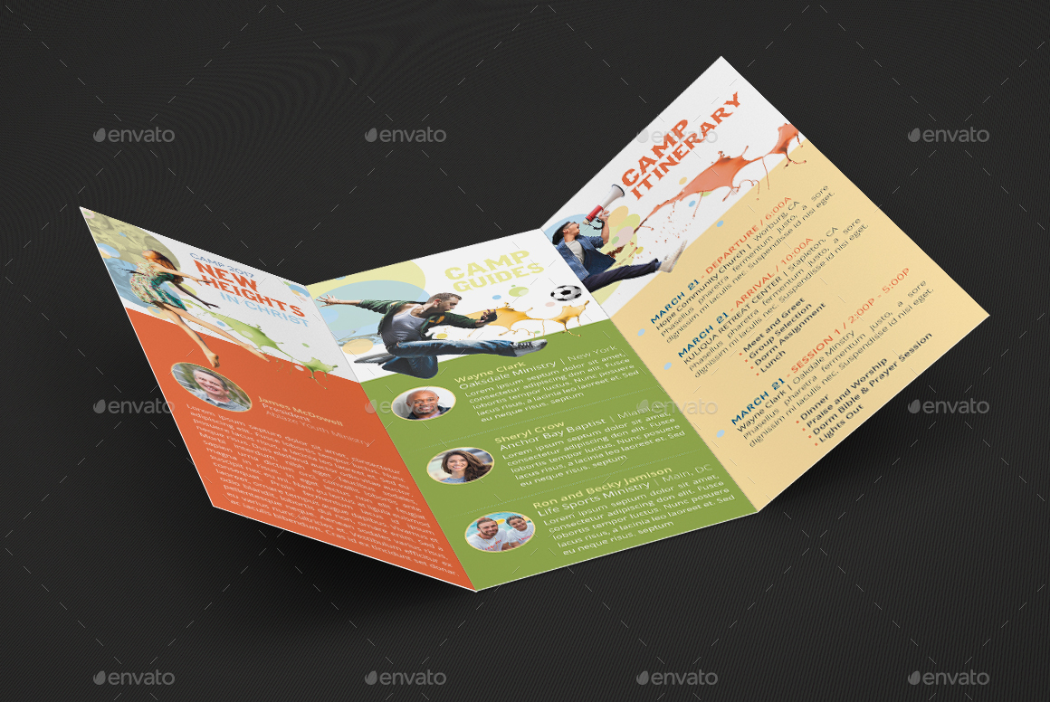 Youth Camp TriFold Brochure Template By Godserv GraphicRiver - 5 fold brochure template