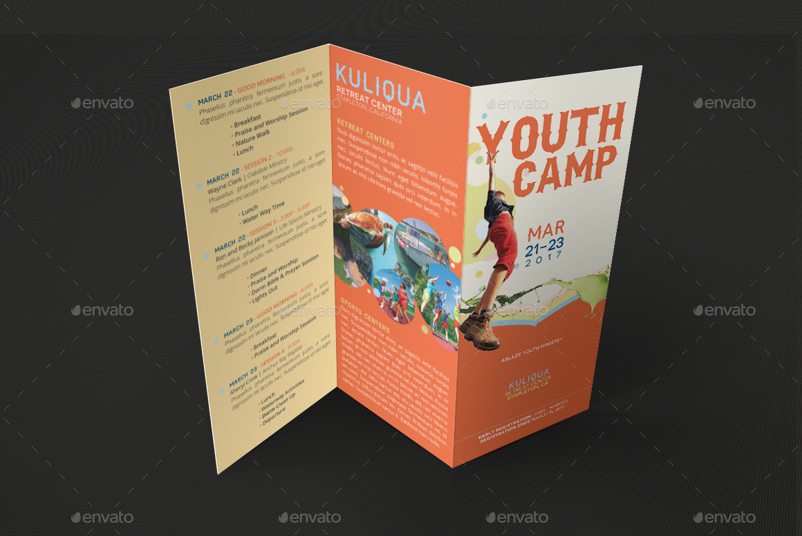 youth camp tri fold brochure template by godserv graphicriver