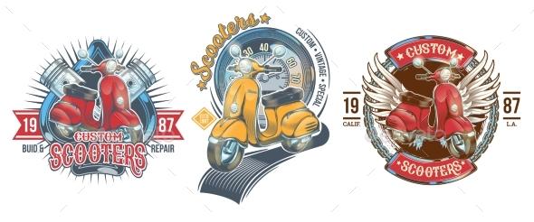 Set of Color Vintage Scooter Badges - Decorative Symbols Decorative