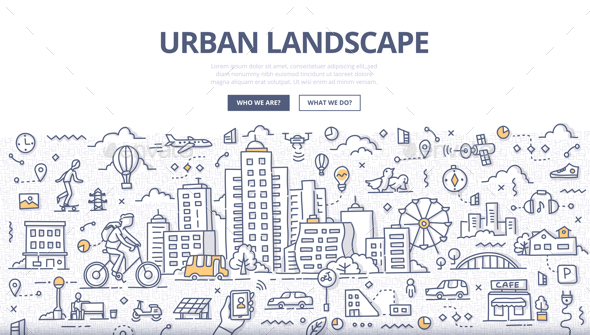 Urban Landscape Doodle Banner - Buildings Objects