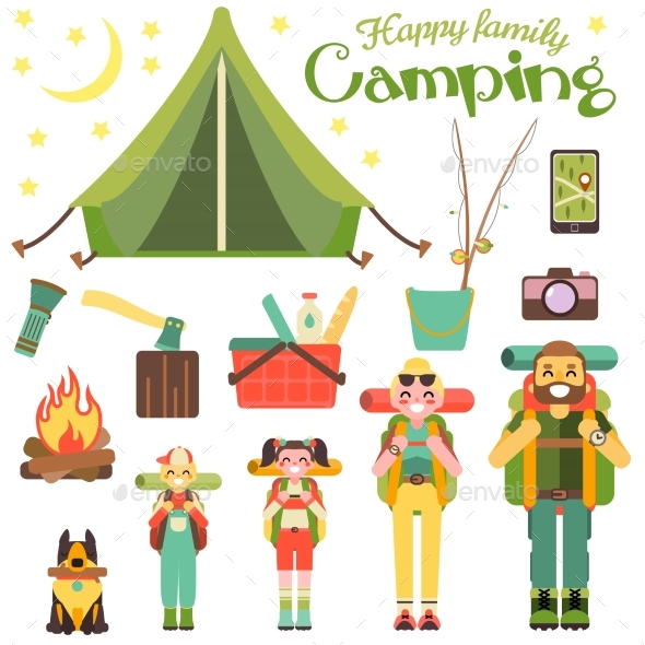 Happy Family Go Camping. Vector Illustration. - Landscapes Nature