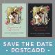 Flower Frame Save The Date Postcard [ tosca ] - GraphicRiver Item for Sale