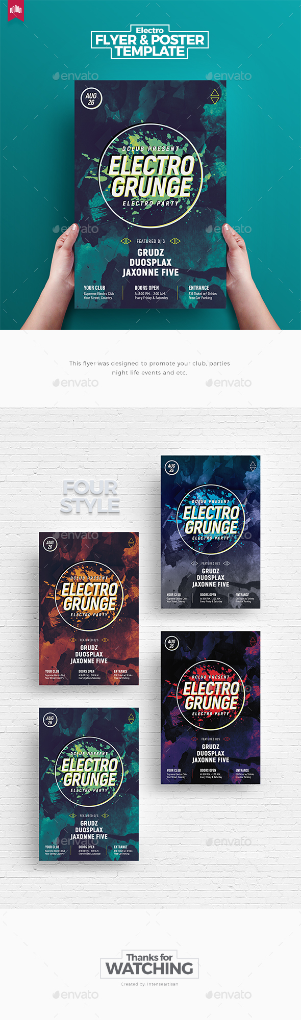 Electro Grunge - Flyer Template - Clubs & Parties Events