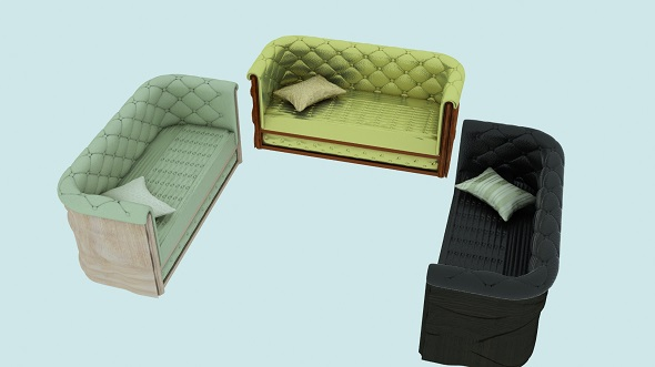 Modern leather sofa in 3 colors - 3DOcean Item for Sale