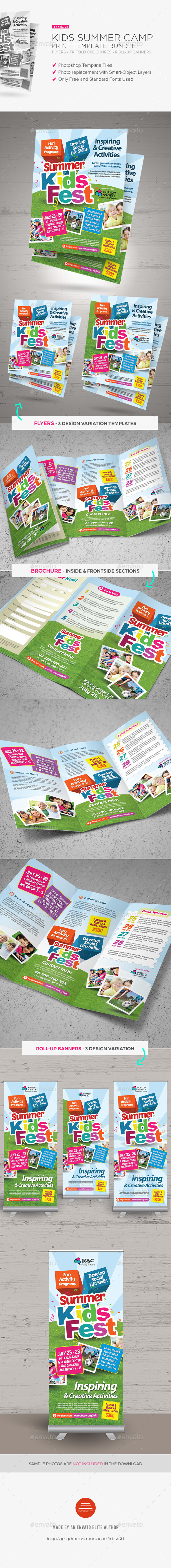 Kids Summer Camp Print Bundle - Brochures Print Templates