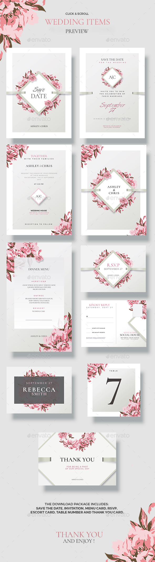 Creative Wedding - Floral Invitations - Cards & Invites Print Templates