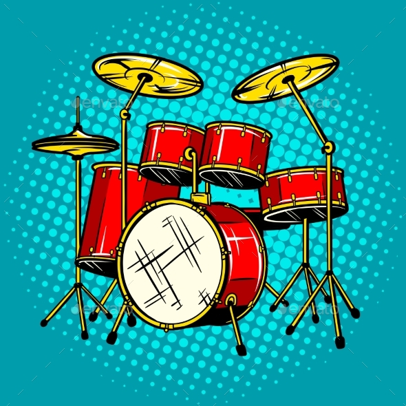 Drum Set Musical Instrument Vector Illustration - Objects Vectors
