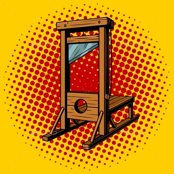 Guillotine Pop Art Vector Illustration - Objects Vectors