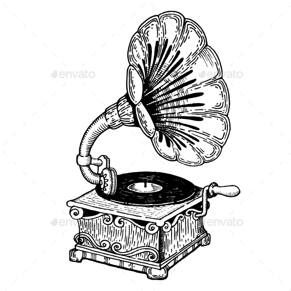 Gramophone Engraving Style Vector - Miscellaneous Vectors