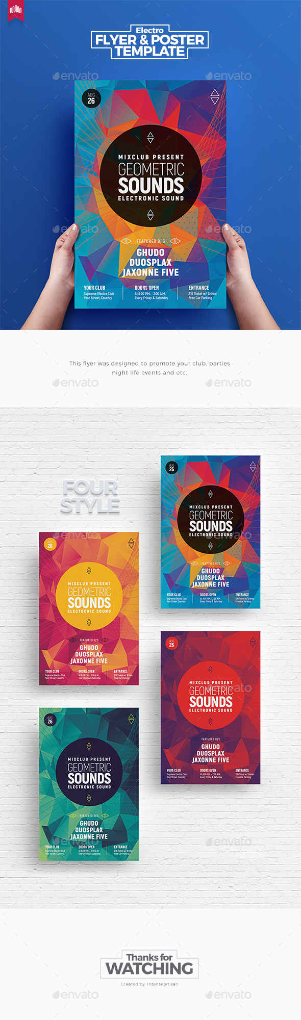 Geometric Sound - Flyer Template - Clubs & Parties Events
