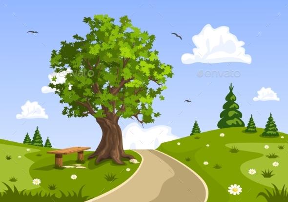 Serene Summer Day Landscape. Nature Vector - Landscapes Nature