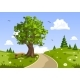 Serene Summer Day Landscape. Nature Vector