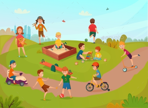 Kids Playing Composition - Sports/Activity Conceptual