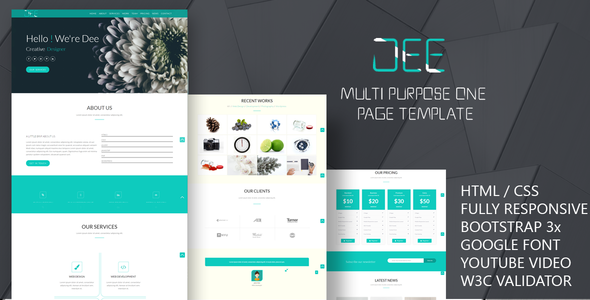 Dee-Personal One Page Template