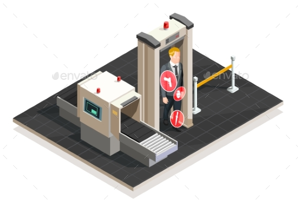 Airport Isometric Illustration - Miscellaneous Vectors