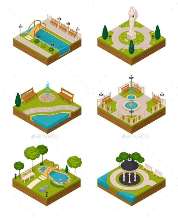 Set Of Isometric Landscape Design Compositions - Objects Vectors