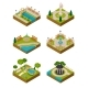 Set Of Isometric Landscape Design Compositions