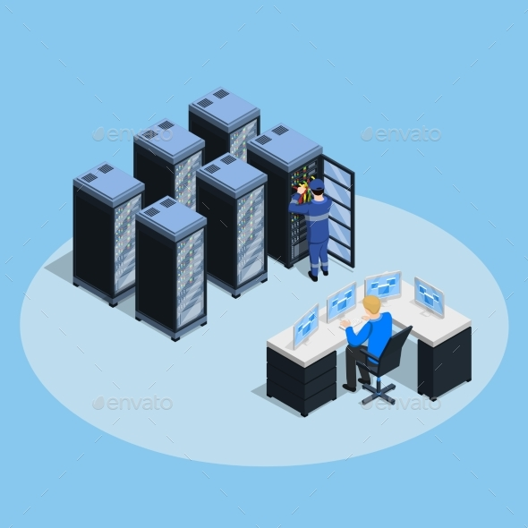 Data Center Isometric Composition - Computers Technology