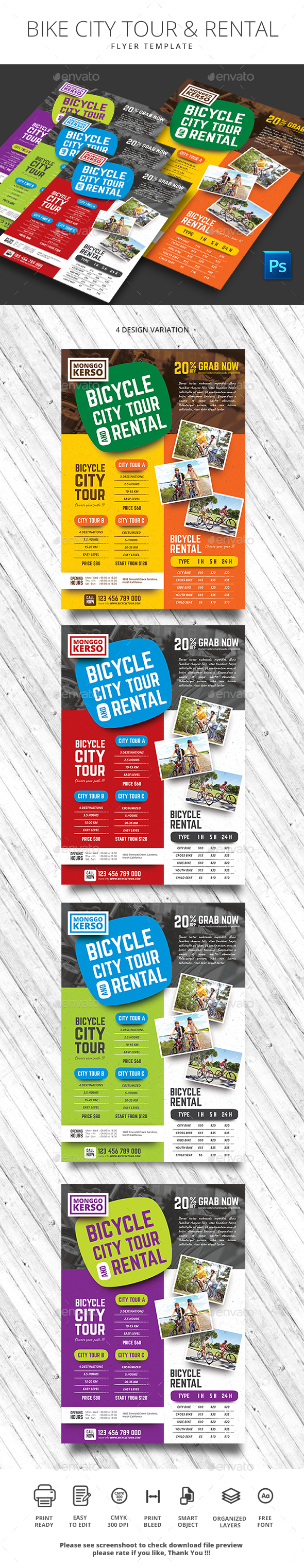 Bike City Tour and Rental - Flyers Print Templates