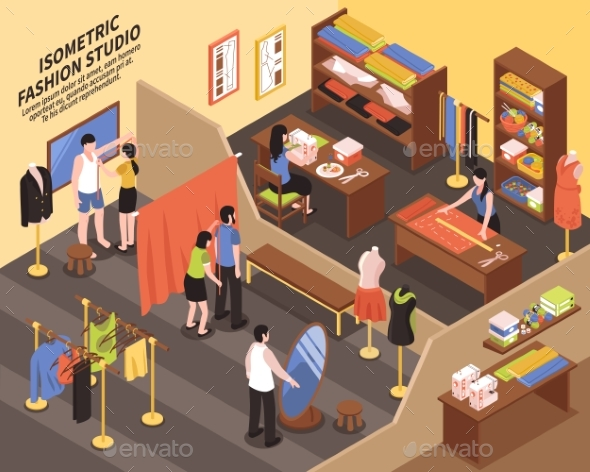 Fashion Studio Isometric Illustration - Man-made Objects Objects