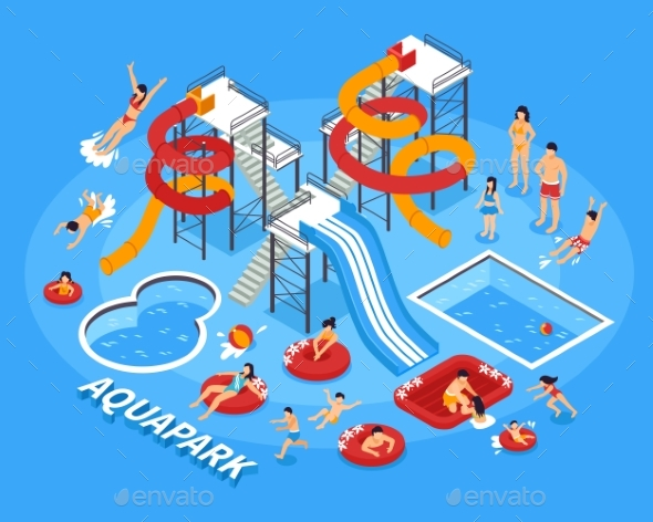 Water Park Illustration - Sports/Activity Conceptual