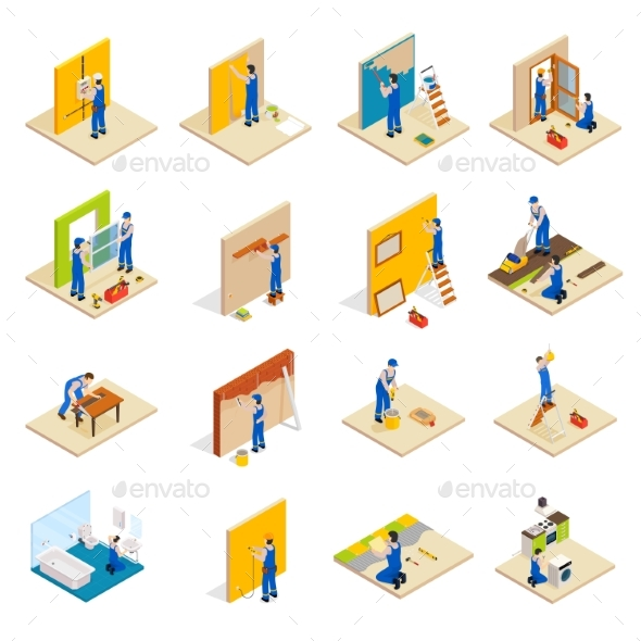 Home Repair Isometric Set - Buildings Objects