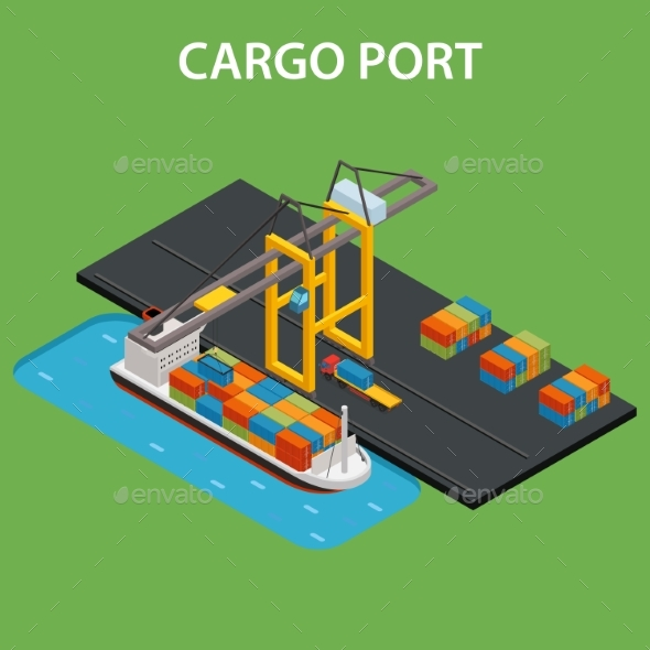 Cargo Port Isometric - Man-made Objects Objects