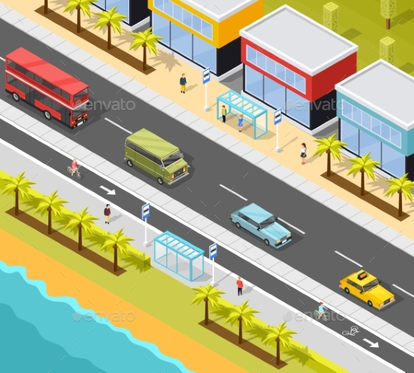 Resort City Transport Background - Buildings Objects